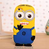 Oppo F3 3D Cartoon Soft Rubber Silicone Back Case Minion Yellow Cover By Angel store
