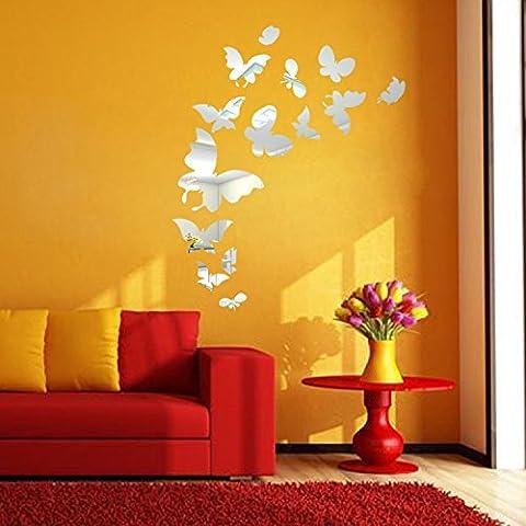 T-Mida Home Farfalla specchio parete adesivi acrilico paesaggio decorazione idee soggiorno camera da letto TV sfondo muro stickers 14 Pack