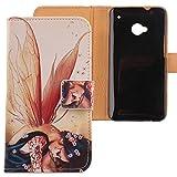 Lankashi PU Flip Leder Tasche Hülle Case Cover Schutz Handy Etui Skin Für HTC One M7 Wing Girl Design