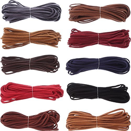 10 Piezas 3 mm por 5 m Cuerda de Cuero para Fabricación de Pulsera Collar Abalorios Manualidades Bisutería, 10 Colores