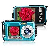 Videocamera subacquea Videocamera digitale 24MP Videocamera Doppio schermo Dual LCD a colori a colori Display FHD 1080p Free-casing Autoscatto Foto Videoregistratore Batteria ricaricabile