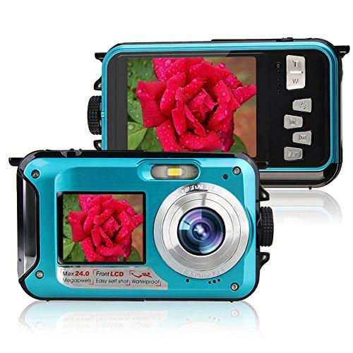 Caméra sous-Marine Caméra vidéo numérique DE 24 MP Caméscope Double Ecrans Ecrans LCD Double Couleur FHD 1080p Mono-enregistreur Libre-Photo Enregistreur vidéo Batterie Rechargeabl