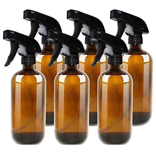 THETIS Homes Bottiglie Spray Vuote Boston 500ml in Vetro Ambra con Spruzzatore a Grilletto per Oli Essenziali Pulizia Stanza Aromaterapia Profumo Viaggio, Tappi e Etichette Allegate (6 Confezioni)