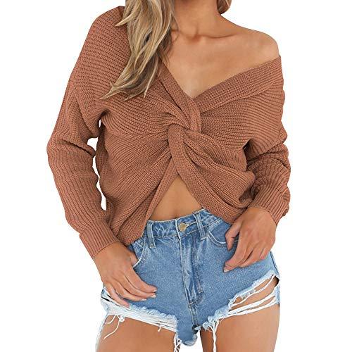 Wenyujh Damen Pullover Strickpullover Herbst Sweatshirt Sweater V-Ausschnitt  Rückenfrei Knoten Langarm Pulli Oberteil 548507e3d4