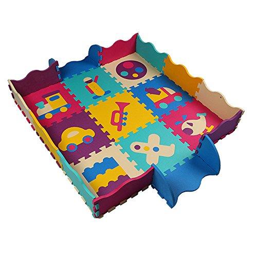 XGUO Tappetini Puzzle per Bambini 25 Pezzi Tappeto Gioco Puzzle con Auto 120cm*120cm*1.2cm - No.3