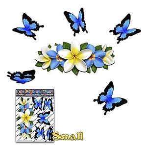 BLUME Blue Frangipani PLUMERIA Kleines Zentrum + Schmetterling Tier Autoaufkleber - ST00046BL_SML - JAS Aufkleber
