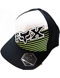 7b196907081f1 Fox Racing Mud Ride Black White Green Curved Brim Flexfit Hat Large X