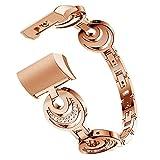 Gimartuk Bling Bands für Fitbit Charge 2, Schmuck Metall Ersatz Uhrenarmbänder Zubehör Armband Armband mit Strass, Damen, WF-420, Rose Gold, 5.1-8.5 inch