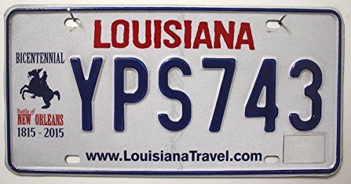 """USA Nummernschild LOUISIANA ~ License Plate BICENTENNIAL ~ US Fahrzeug Schild """"Battle of New Orleans 1815-2015"""" ~ Autokennzeichen"""
