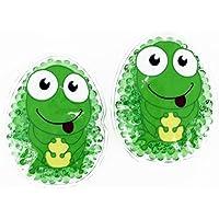 Preisvergleich für 2 Kühlpads Frosch Wärmepad mehrfach Kompresse Kühlkissen Kinder wärmen kühlen
