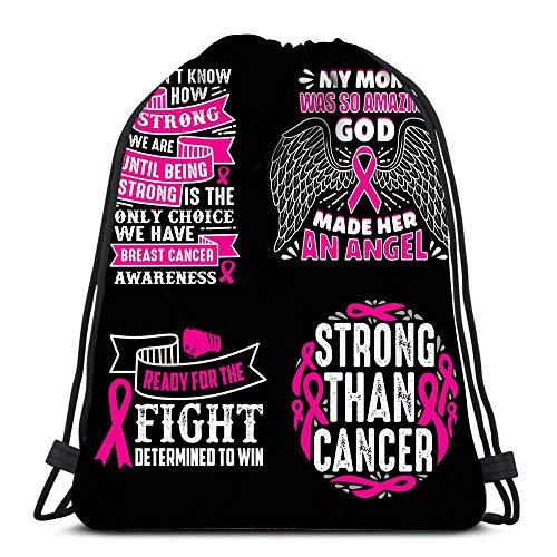 Randell Gym Drawstring Backpack Sport Bag Breast Cancer Quotes Saying 100 Best Like Mug Frame Other Lightweight Shoulder Bags Travel College Rucksack for Women Men