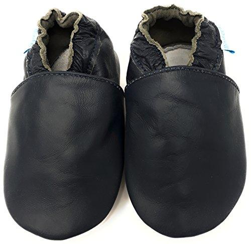 MiniFeet, Chaussures Bébé en cuir Souple - Chaussons Bébé - Chaussures Premiers Pas - 0-6, 6-12, 12-18, 18-24 Mois et 2-3, 3-4 Ans Marine
