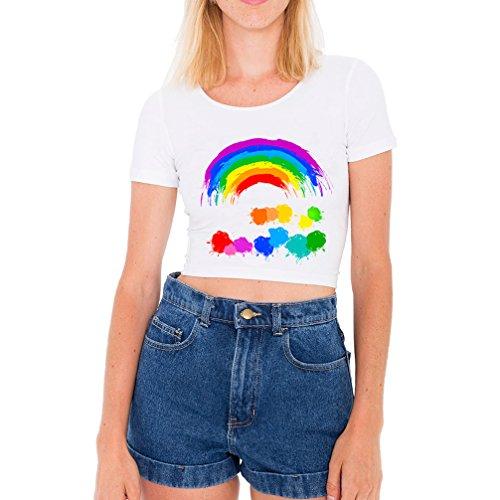 arco iris Camisetas Mujer Manga Corta Verano 2017 Tumblr Blanco Crop Tops...