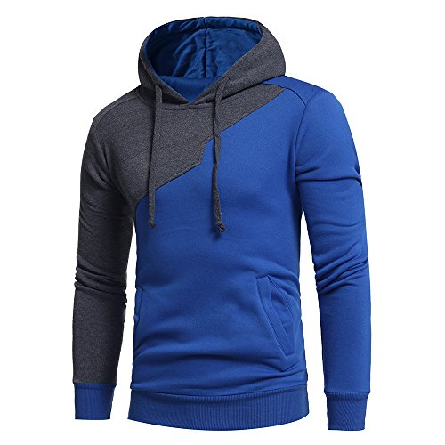 Honestyi Herren Kapuzenpullover, Herren Langarm Hoodies Sweatshirt Tops Jacke Mantel Abnutzung Kapuzenpullover(Blau,XXL)