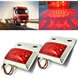 Hrph 1 Pair 16 LEDs Chrome Plated Side Marker & Clearance Lights Tailer Truck Lamps 24V Red