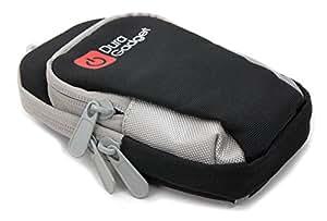 Brassard de sport DURAGADGET en nylon pour téléphone portable/smartphone Samsung Galaxy A3, A5, E5, Z1, J1, S6 Edge, S3 Neo, Rush M830 – noir/gris, avec poches multiples