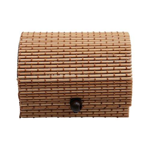 Jixing - Caja de madera de bambú para joyas, organizador de regalo, Light Coffee, 23 * 10cm