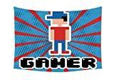 Video Games Wall Tapestries Blue and Red Stripes Boom Beams Retro 90s Style Toys Boy with Cap Gamepad Bedroom Living Room Dorm Decor Red Blue White Black