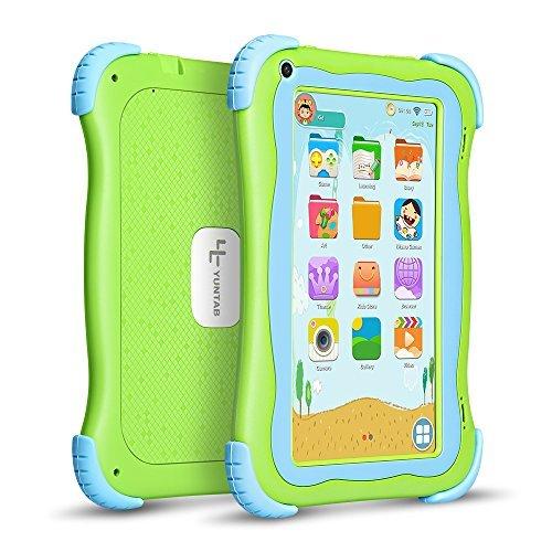 YUNTAB Q88H/Q91 Kids Edition Tablet, 17,8 cm (7 Zoll) Display, 8 GB, WiFi, Kinder-Software vorinstalliert, Premium Elternsteuerung, Lernspiel-Apps zum Schutz der Silikonhülle Cute green-Q91