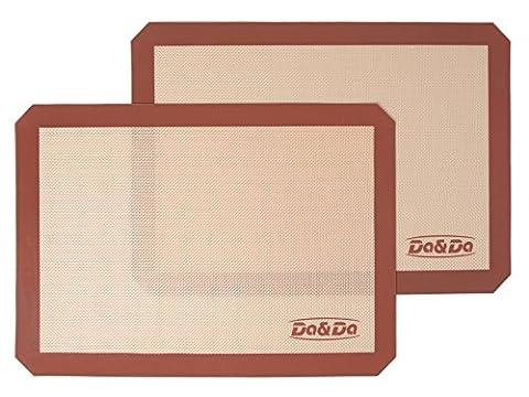 Tapis de Four et Cuisson en Silicone Platine pour Pâtisserie Résistant à la Chaleur et Anti-Adhérent, Set de 2 Plaques de Cuisson Jimdada Large (42 x 29.5 cm)