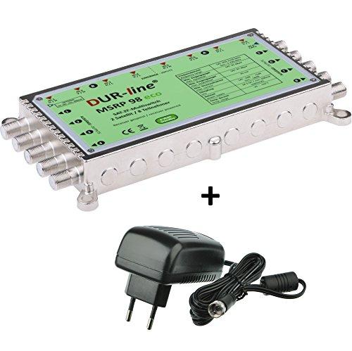 DUR-line MSRP 98 eco + Netzteil - Multischalter für 2 Satelliten/8 Teilnehmer - Geringe Stromaufnahme - 0 Watt Standby Multiswitch [Digital, HDTV, FullHD, 4K, UHD]