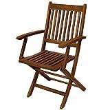 Klappstuhl BENITA mit Armlehnen 2-er Set, Akazie geölt, FSC®-zertifiziert Stuhl klappbar Gartenmöbel