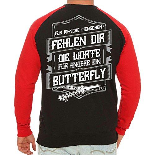 Männer und Herren Pullover La Familia Butterfly mit Rückendruck Größe S  10XL schwarz/rote Ärmel