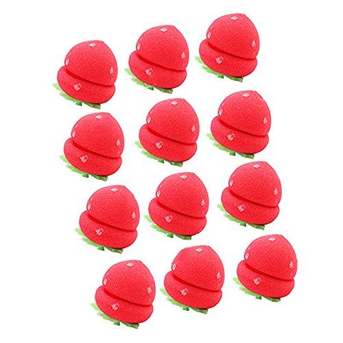 Contever® 12 Pcs Schwamm Frisurenhilfe Lockenwickler Rollen Erdbeere Balls Haar Design Haarpflege Flexible