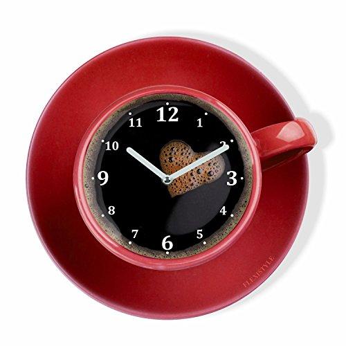 Horloge murale de cuisine moderne La Tasse Perfetta pour café, rouge, 30cm, silencieux, verre plexi, design moderne, fabriqué en UE