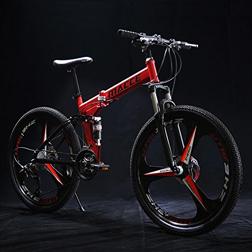 FEIFEI Faltendes Gebirgsfahrrad-Fahrrad 24 Zoll-Männer und Frauen-Studenten-variable Geschwindigkeits-Doppelt-Schock-Absorptions-erwachsenes nicht für den Straßenverkehr Fahrrad ( Farbe : Rot )