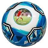 Ballpix mit Fußball, Größe 5, personalisierbar mit Foto, Bild, mit hochwertiger Hand-Stitched, Blau
