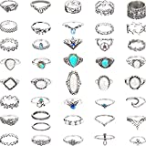 41 Pieces Vintage Knuckle Ring Set Opal and Turquoise Joint Knuckle Rings for Women Girls Bohemian Five Finger Stackable Rings Set Retro Vintage Jewelry