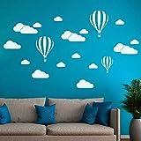 Hukz Wandaufkleber Wallsticker DIY Große Wolken Ballon Wandtattoos Kinderzimmer Dekoration Kunst Wandtattoo Wandaufkleber Sticker Wanddeko (Weiß) (Weiß)