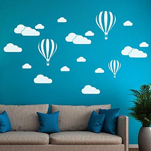 Hukz Wandaufkleber Wallsticker DIY Große Wolken Ballon Wandtattoos Kinderzimmer Dekoration Kunst Wandtattoo Wandaufkleber Sticker Wanddeko (Weiß)