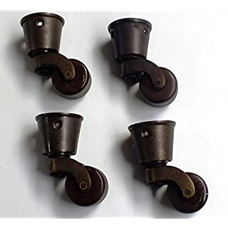Foam & Upholstery Warehouse Antiqued Brass Castor Brown Ceramic Wheel. Cup Fitting. 32mm (1¼