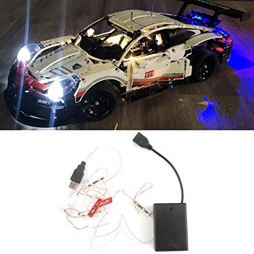 Poxl Licht-Set Für Technic Porsche 911 RSR - LED Licht-Set Led Licht Kit Kompatibel Mit Lego 42096 (Modell Nicht Enthalten)