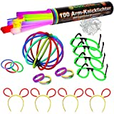 Knicklichter Party Set - 100 knallbunte Premium Armbänder + Brillen Set + Bunny Ohren + extra lange biegsame TopFlex Verbinder + Tripple Connectoren + Ball. All in!