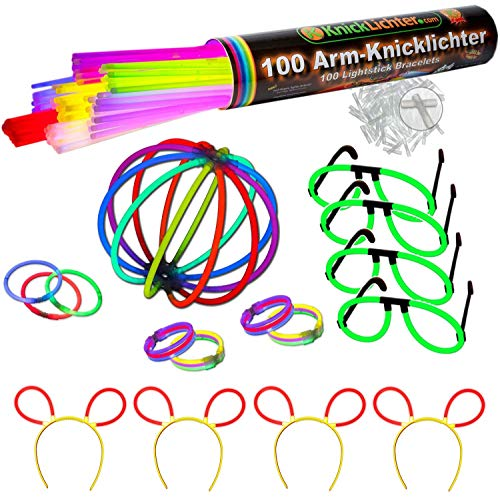 Knicklichter Party Set - 100 knallbunte Premium Armbänder + Brillen Set + Bunny Ohren + extra lange biegsame TopFlex Verbinder + Tripple Connectoren + Ball. All in!