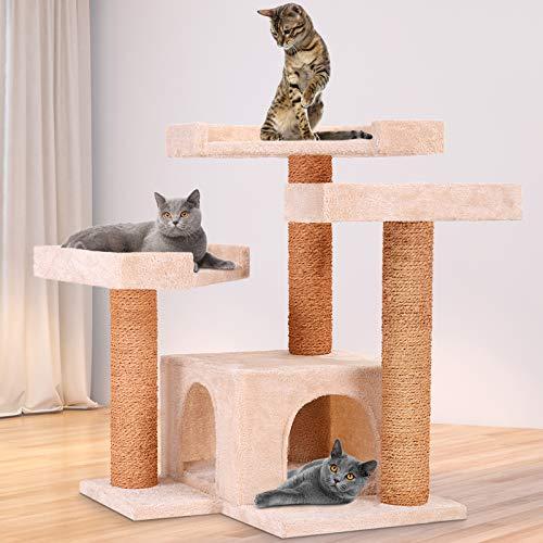 Leopet Kratzbaum zum Spielen, Schlafen und Relaxen | 66cm Hoch, eine Höhle und DREI Plattformen | Katzenkratzbäume, Katzenkratzbaum, Katzenbaum, Kletterbaum