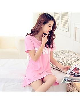 Paciffico donne estate manica corta sciolto Sleep Nightshirt gonna rosa modello cotone lunga Homewear abito, donna...