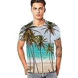 JIANGfu 2018 Herren 3D Tiere Palme Sommer T-Shirt ❤ Men Rundhalsausschnitt Slim Fit Short Sleeves Personality Kleidung Herren Atmungsaktiv T-Shirt Vest Blouse (Blau, 2XL)