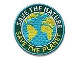 2er-Pack Stick-Abzeichen / Save the Nature Planet / Patch zu Umwelt, Natur, Naturschutz, Umweltschutz / Applikation, Aufnäher, Aufbügler, Bügelbild, Sticker für Kleidung und Rucksack / rund