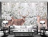 BHXINGMU Wandbild Individuelle Fototapeten Abstrakte Elche Kunsttapeten Große Schlafzimmerwanddekoration 270Cm(H)×370Cm(W)