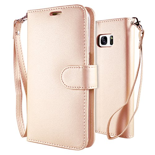 Custodia galaxy s7 edge cover oro , leathlux puro colore modello design con cinturino da polso magnetico snap-on book style internamente silicone tpu custodie case in pelle protettiva flip case per samsung galaxy s7 edge 5.5