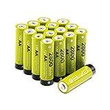 Elzo Pile Ricaricabili Stilo AA Ni-MH, 1.2V / 2800mAh Batteria Ricaricabile ad alta Capacità con Custodia, Confezione da 16 Pezzi