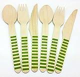 Kraftz® 30er-Set–Einweg-Holz-Besteck für Partys–10Gabeln, 10Löffel, 10Messer, 16cm in Länge mit Punkt-/Streifen-/Zick-Zack-Muster Green - Stripes