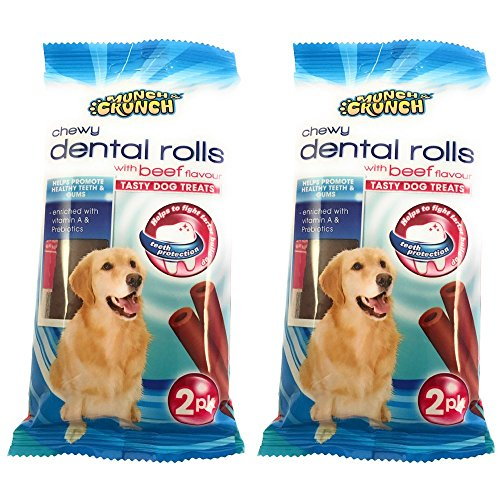 Kerhoot Chew Sicks For Dogs. Daily Oral Care. TWO Packs of Beef Flavour Tasty Dog Chew Treats Reduces Tartar & Plaque -Canine Dental Care – PLUS FREE Dog Care Booklet By