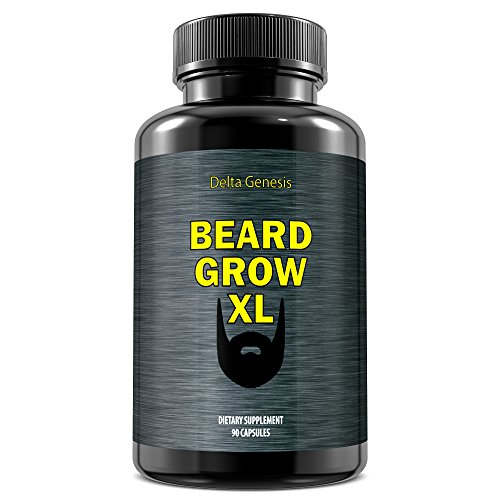 Beard Grow XL | Facial Hair Supplement | #1 Mens Hair Growth Vitamins | For Thicker and Fuller Beard by Delta Genesis