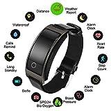 TRDCZ Smart Uhr Blutdruck Pulsmesser Armbanduhr Intelligente Armband Fitness Tracker Schrittzähler,Black