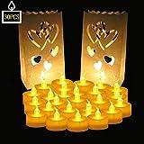 Specifiche del prodotto: Materiale: plastica  Interruttore: ON / OFF (situato nella parte inferiore)  Confezione Quantità: 24 candele Led  Colore delle luci: bianco caldo  Dimensioni: 3,7 x 4,2 cm (1,4x1,6 in)  Batteria in dotazione: 2 x AG10...